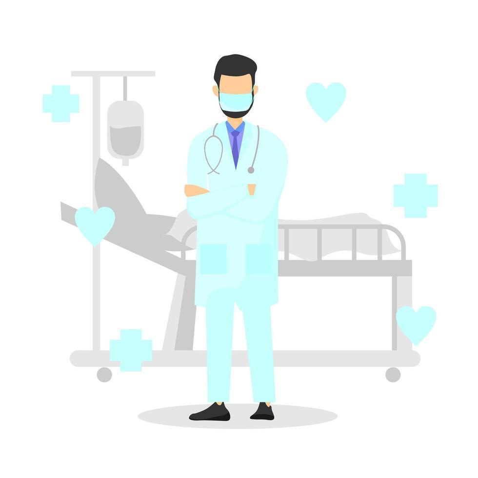 Arzt steht im Krankenhaus mit Maske vektor