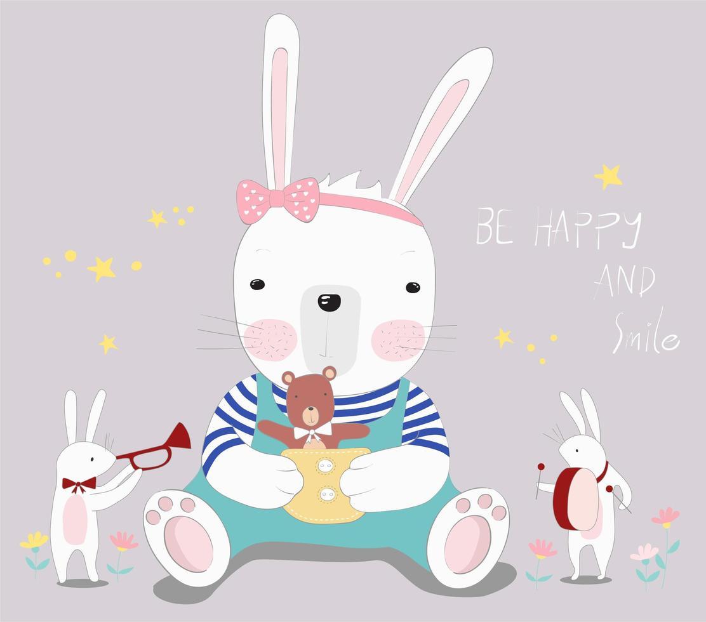 baby kanin med liten björn vektor