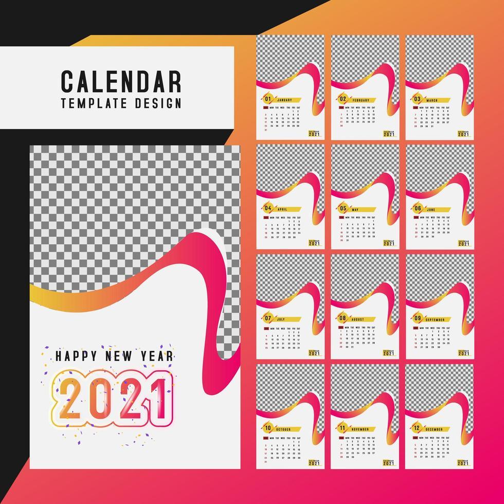 uppsättning skrivbord kalender 2021 mall vektor