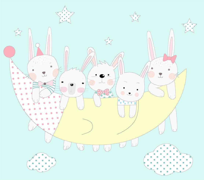 baby kaniner med månen vektor