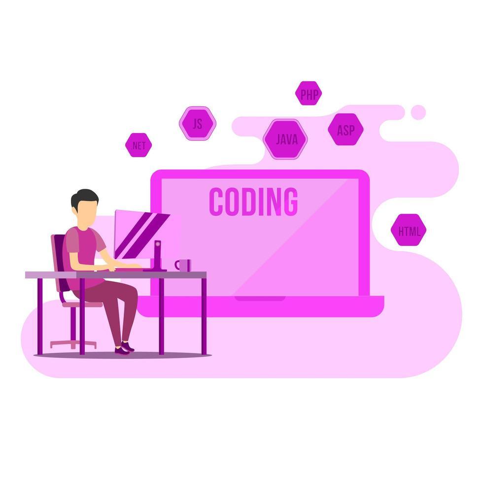 programmerare som arbetar hemifrån vektor