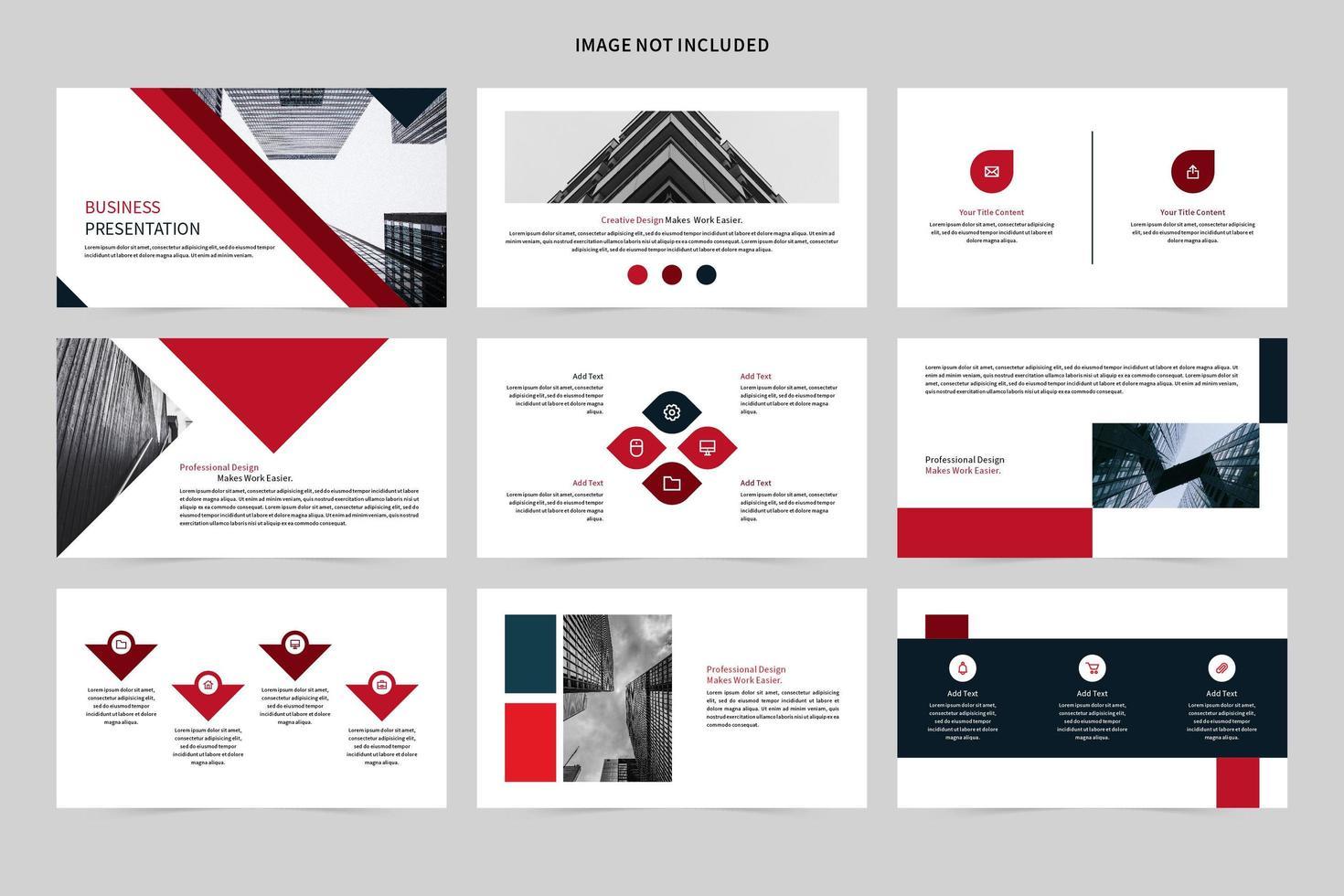 rotes, weißes und schwarzes Geschäftspräsentationsset vektor