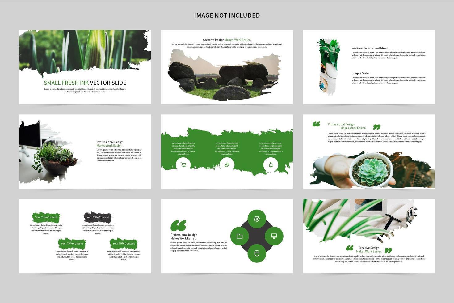 grön och vit bläck stil bildset vektor