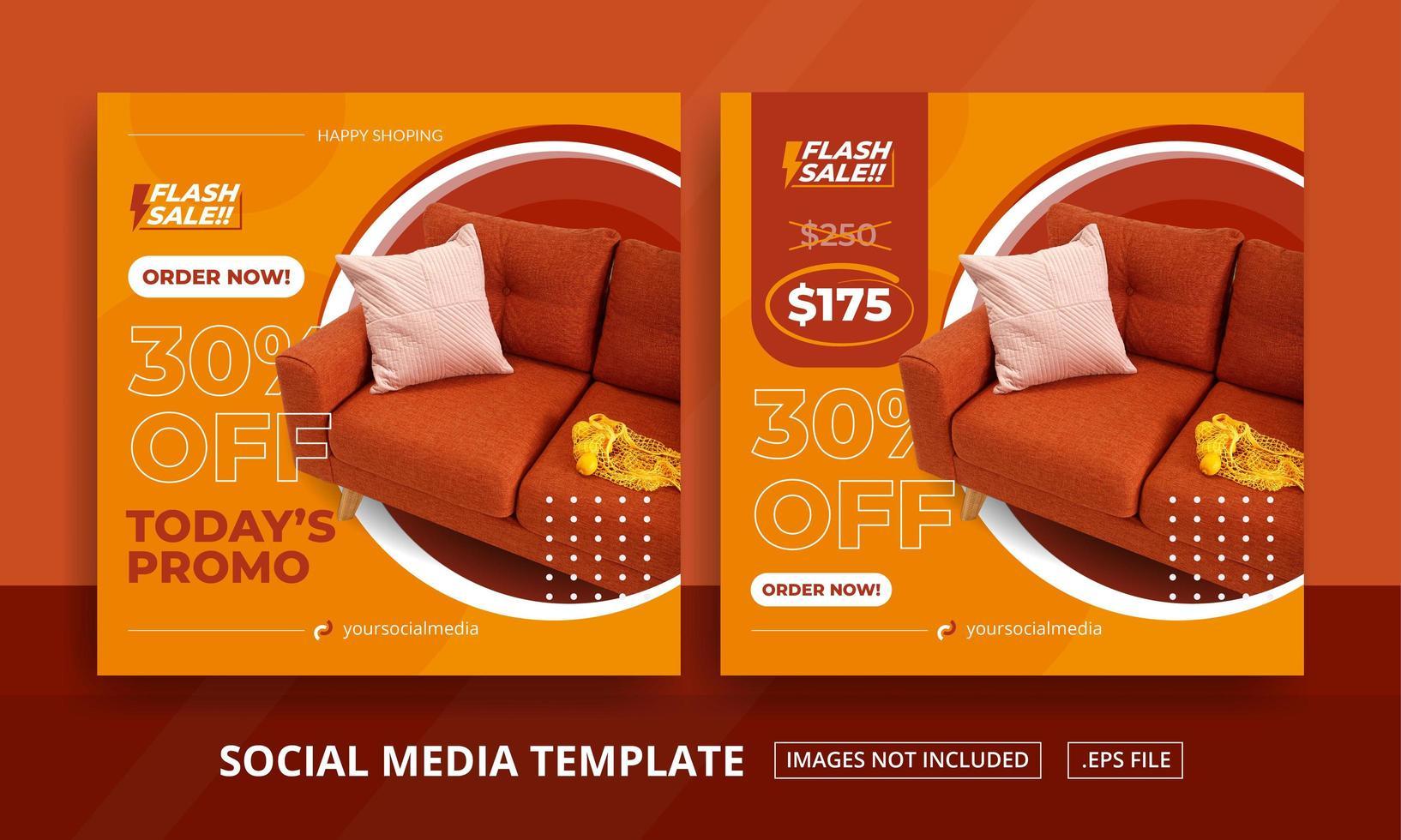 orange möbler tema sociasl media post set vektor