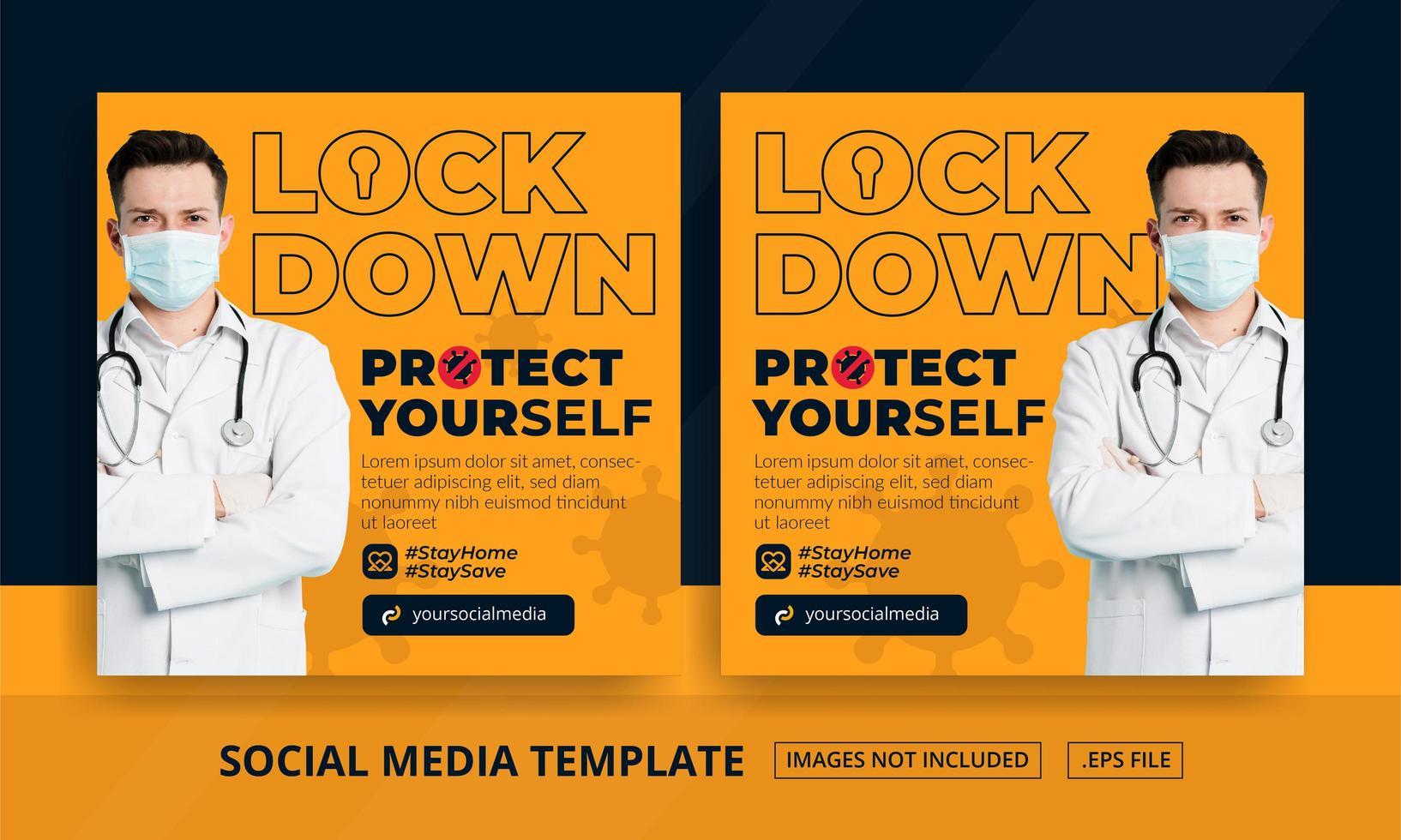 orange lås ner inlägg på sociala medier vektor