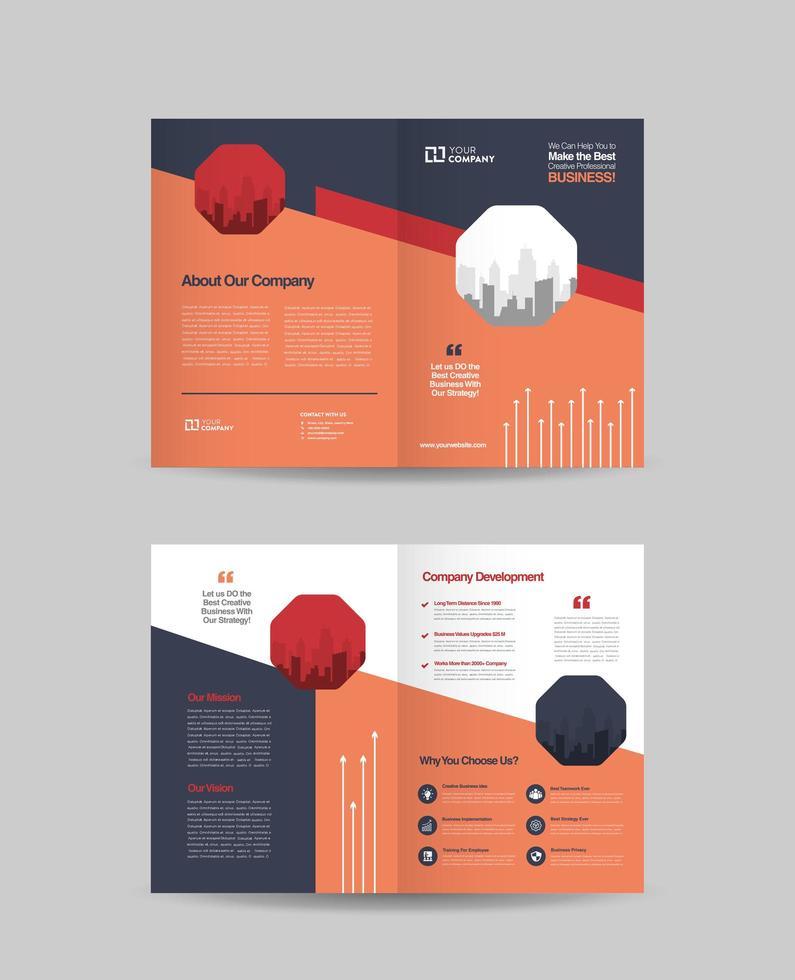 Business Bi-Fold Broschüre Design vektor