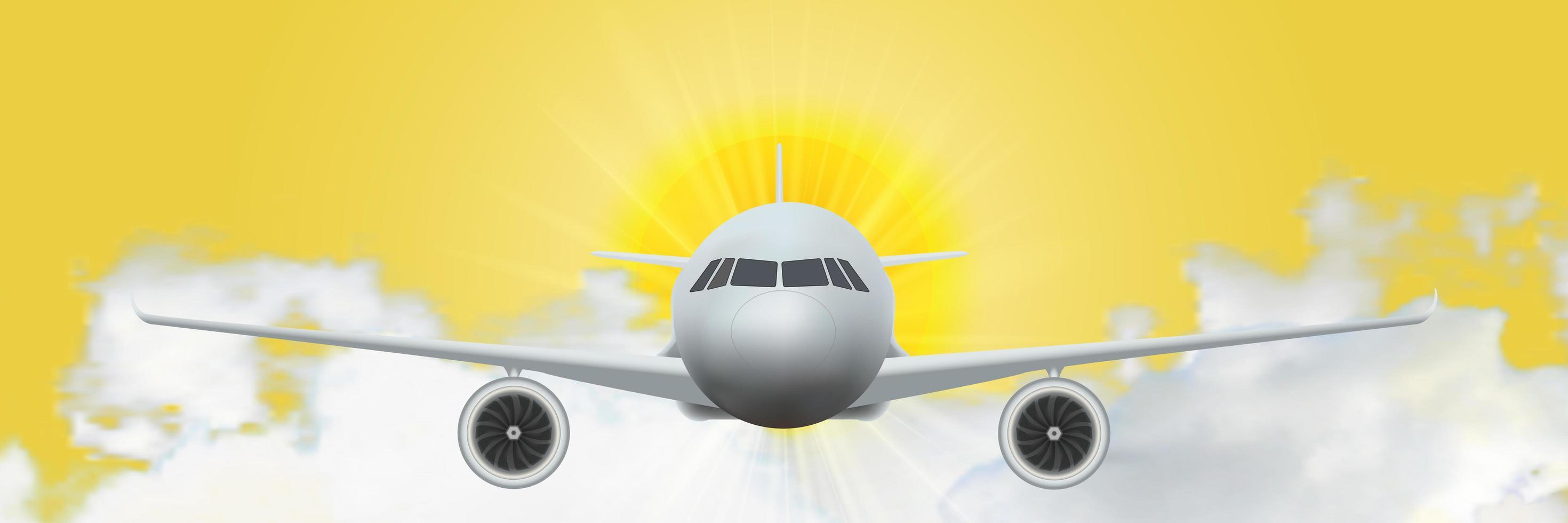Flugzeuge bei Sonnenaufgang vektor