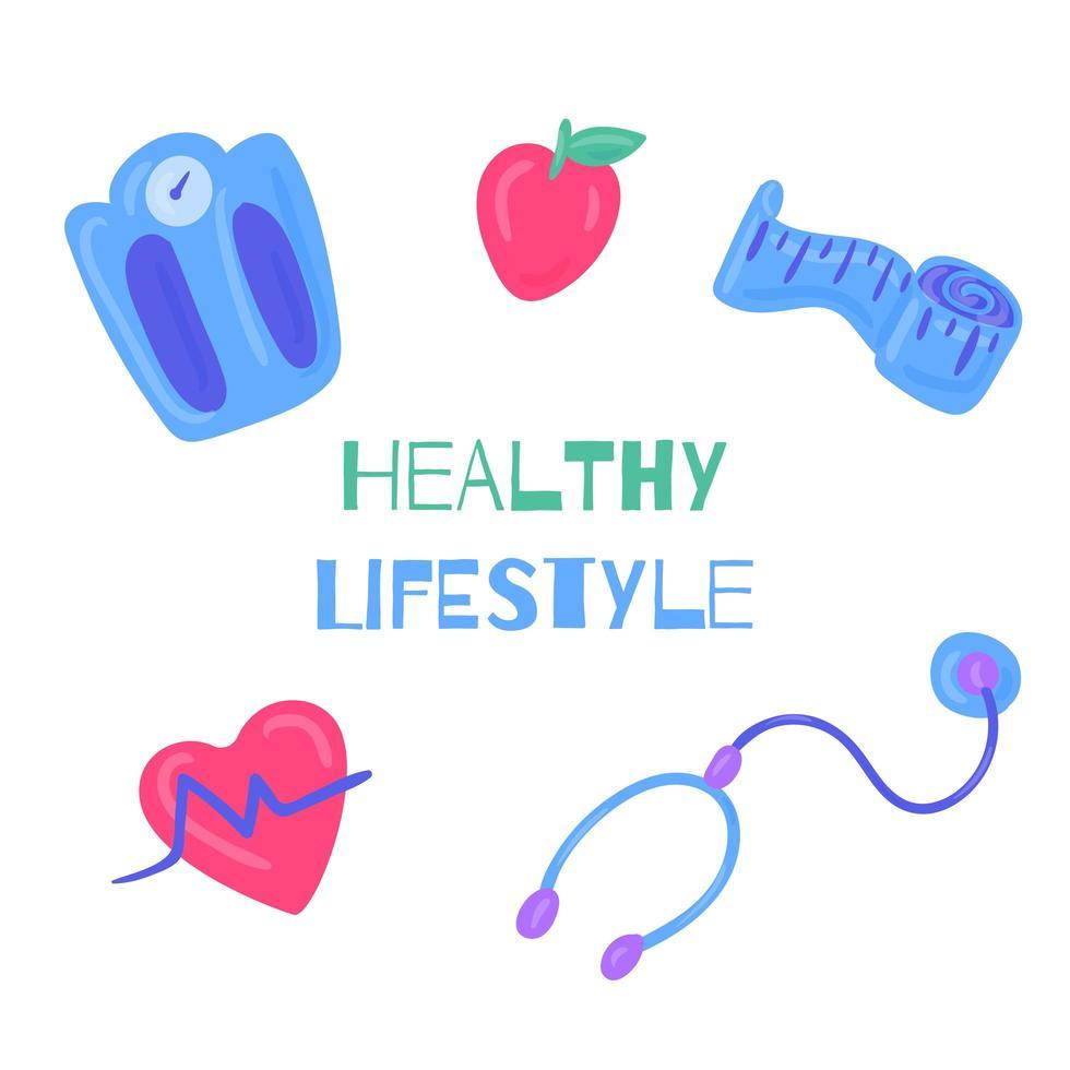 hälsosam livsstil handritade element vektor
