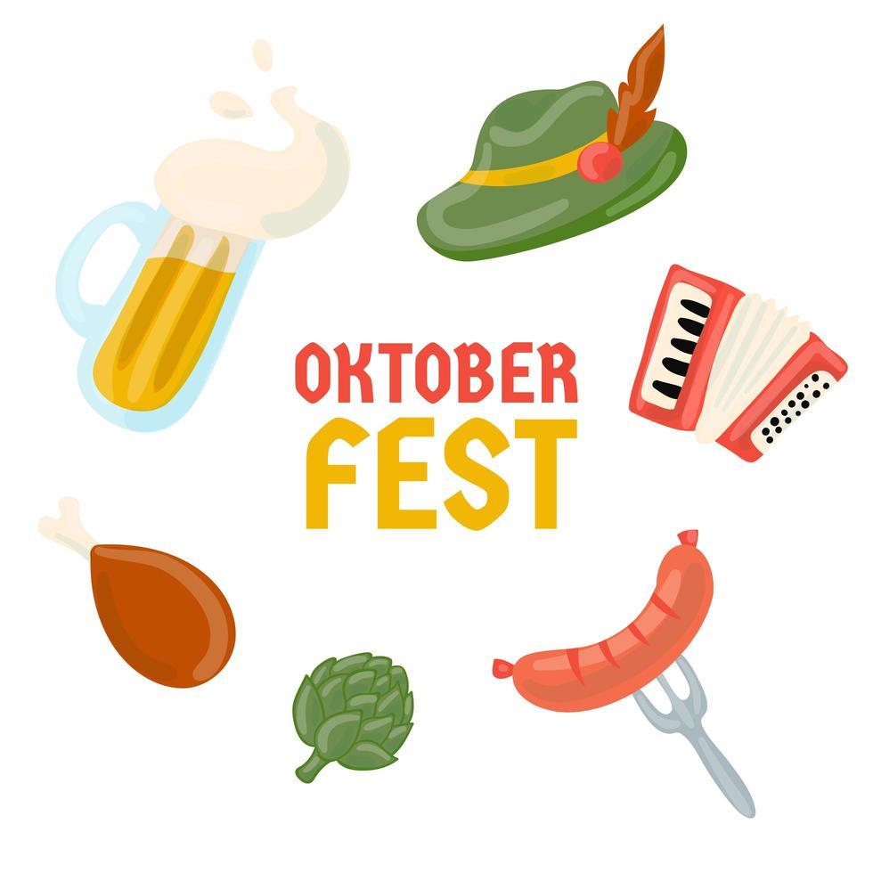 Oktoberfest objekt handritad samling vektor