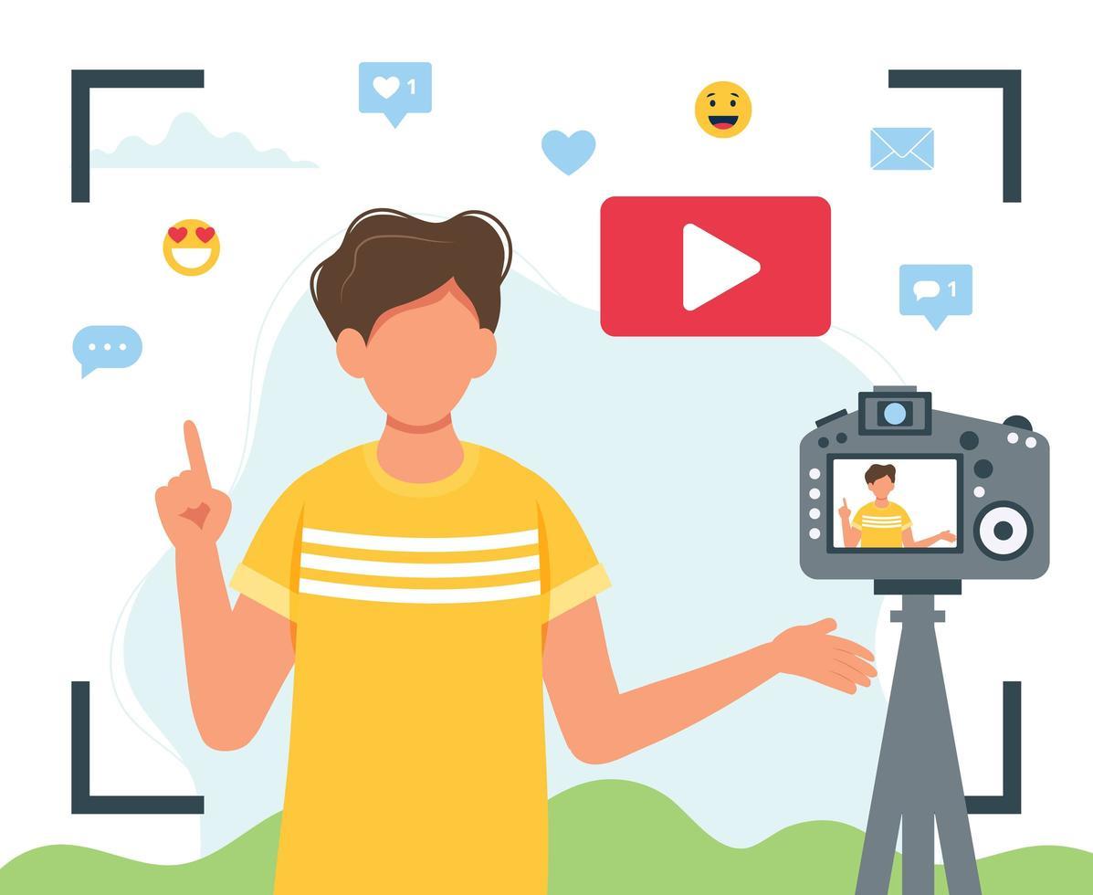 Sucheransicht des männlichen Video-Bloggers vektor