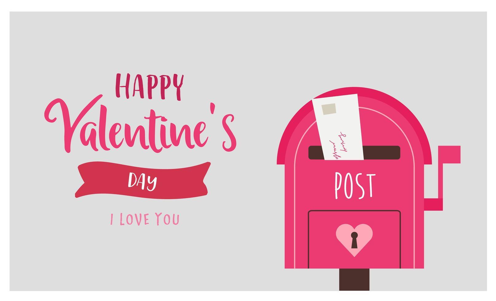 valentin hälsning med rosa postbox och kärleksbrev vektor