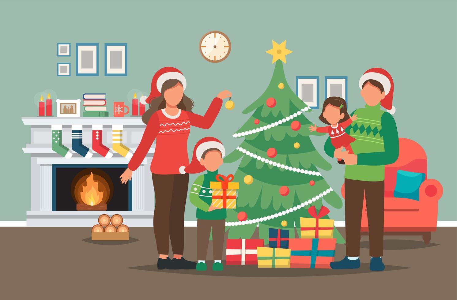 familj dekorera julgran vektor