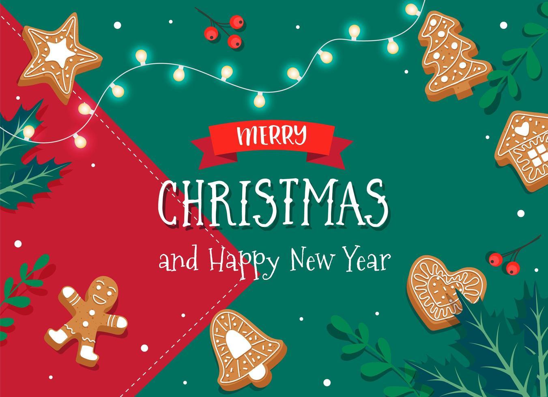 god julkort med pepparkakakakor vektor