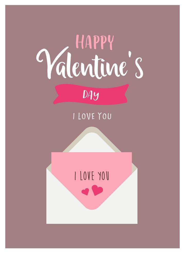 alla hjärtans kort med kärleksbrev vektor