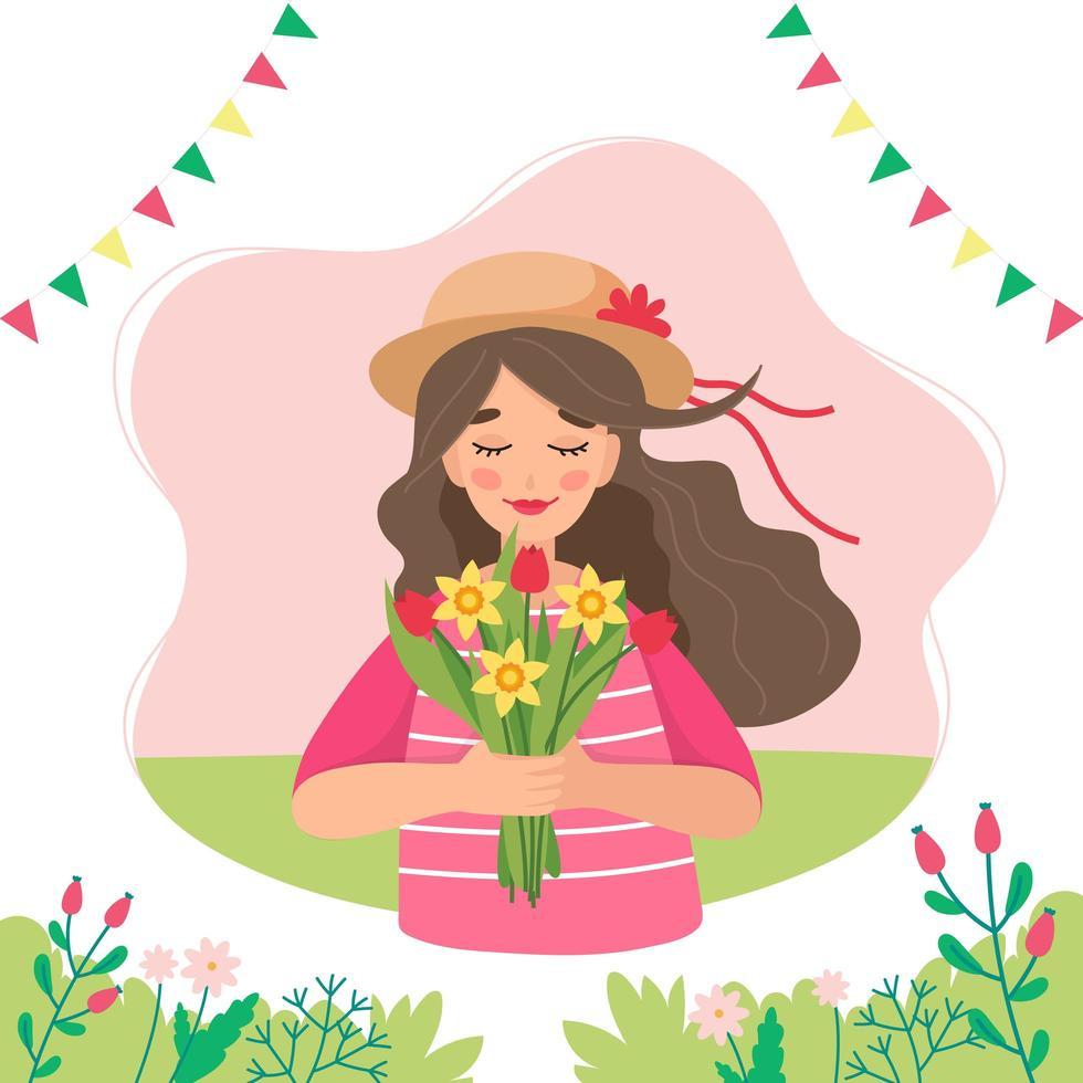 flicka håller blommor på våren vektor