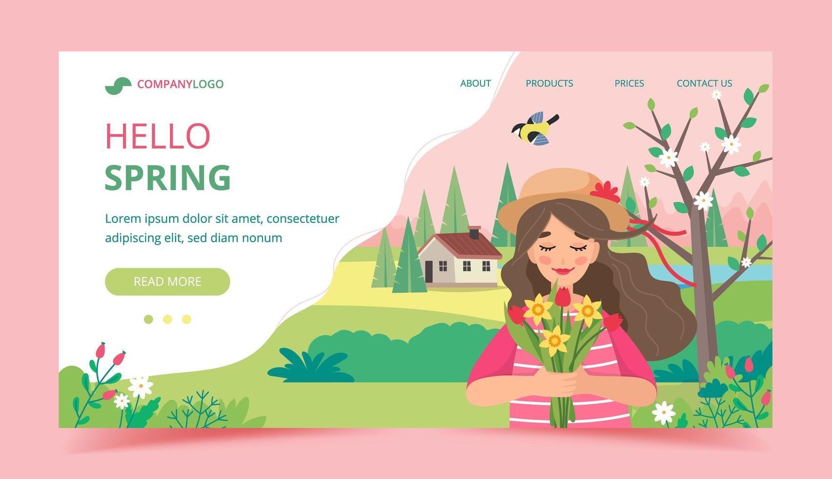 flicka håller blommor i vårlandskap vektor