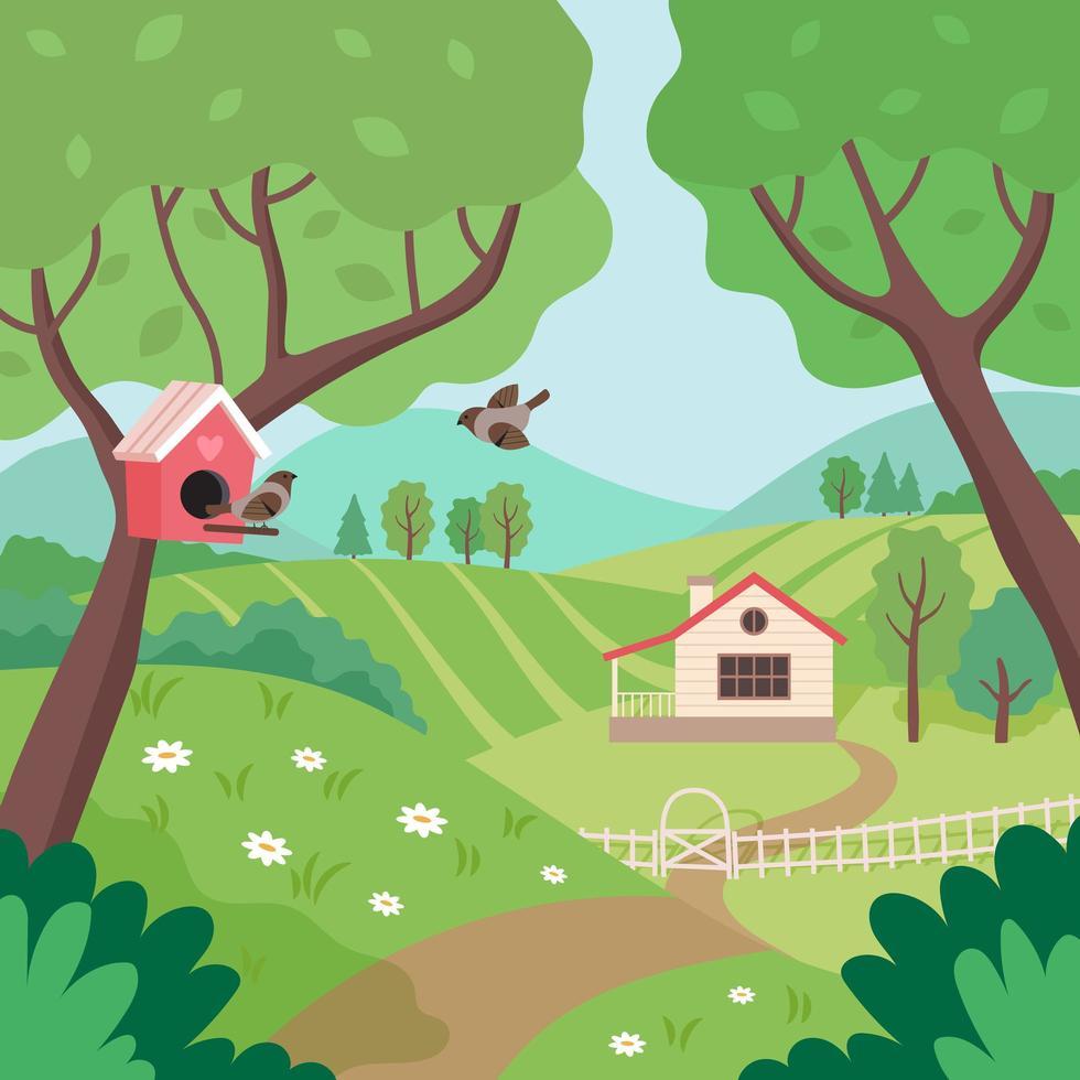 vårlandskap med hus, träd och fåglar vektor