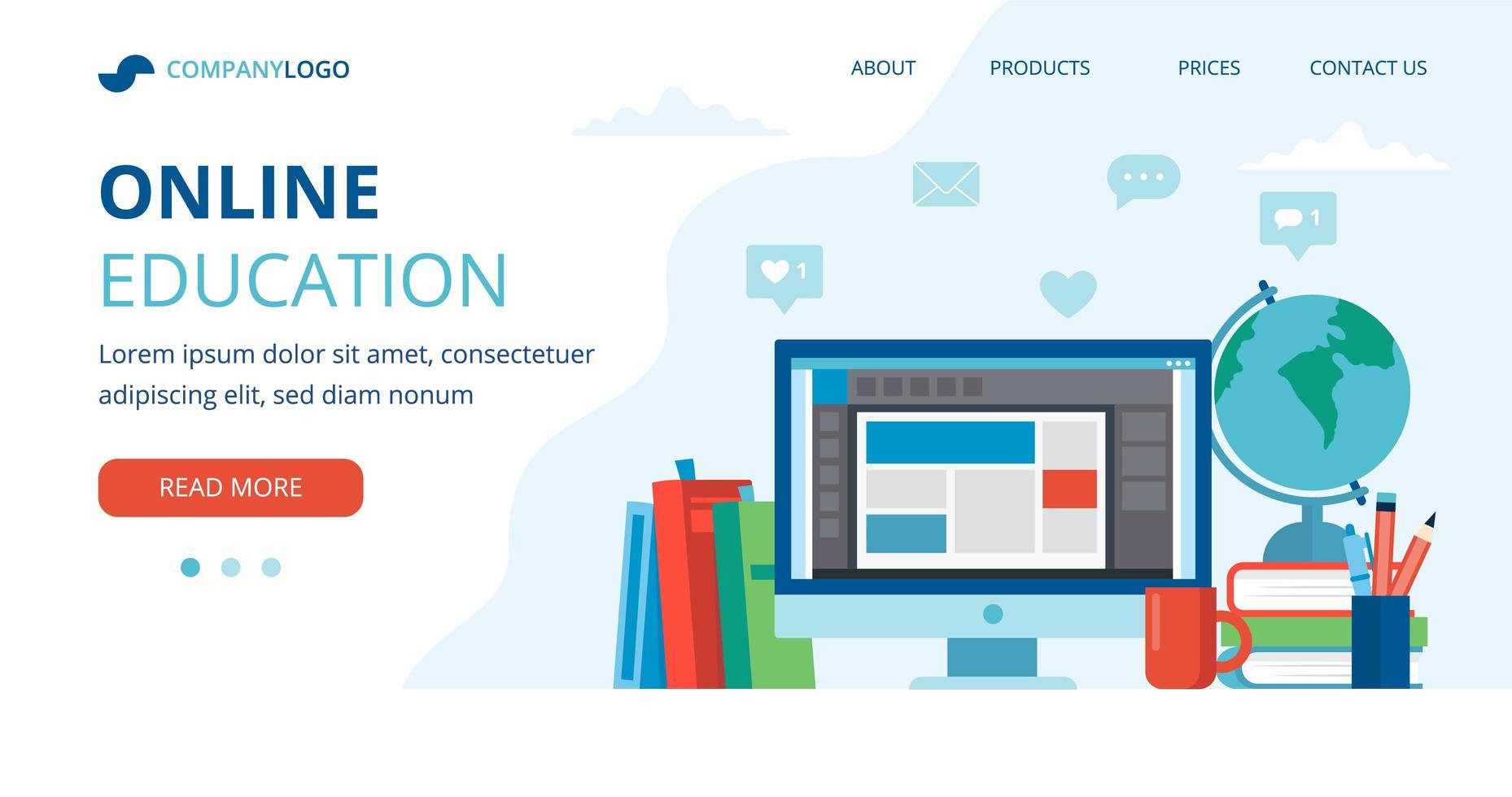 online utbildning koncept med dator, böcker och världen vektor