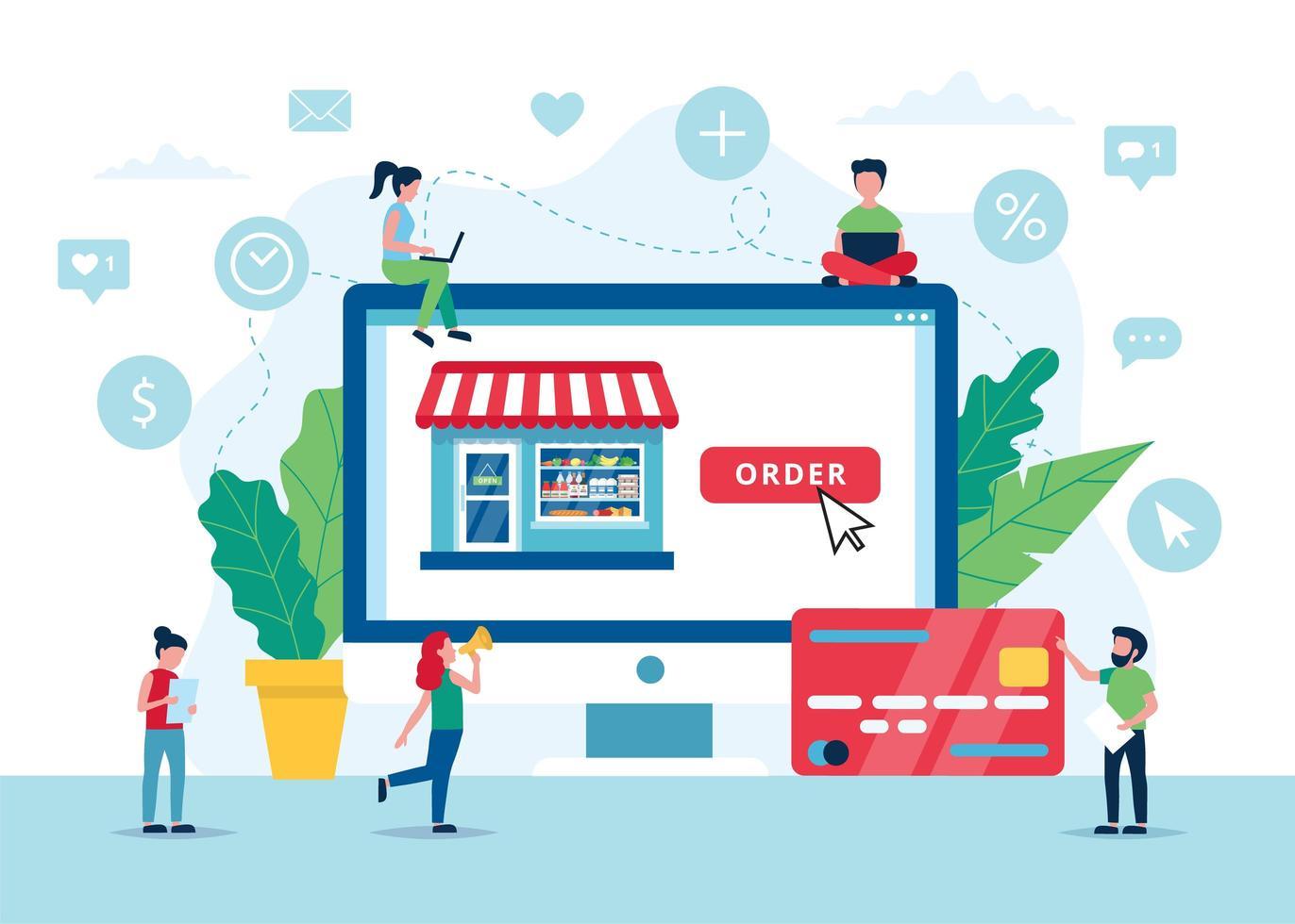 Bestellung von Lebensmitteln Online-Konzept vektor