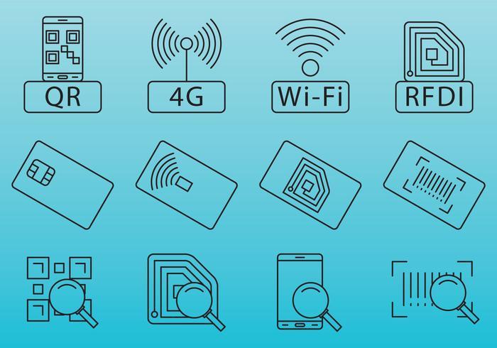 Streckkods- och RFID-ikoner vektor