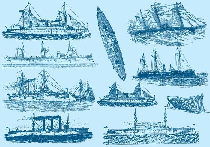 Vintage båtar och fartyg vektor