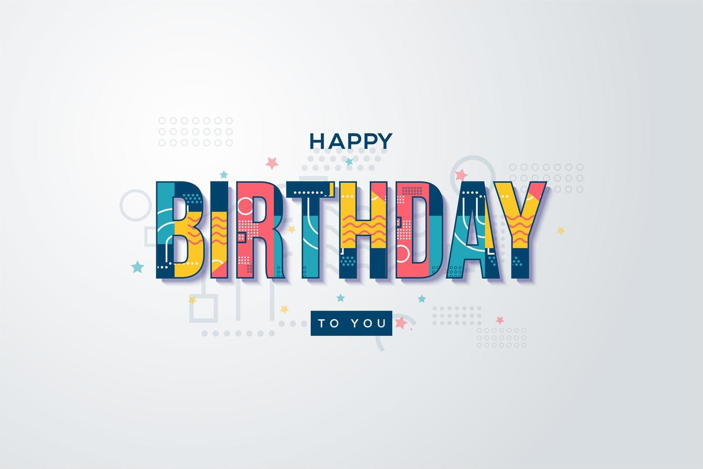 födelsedagbakgrunder med färgglada memphisskrivningar vektor