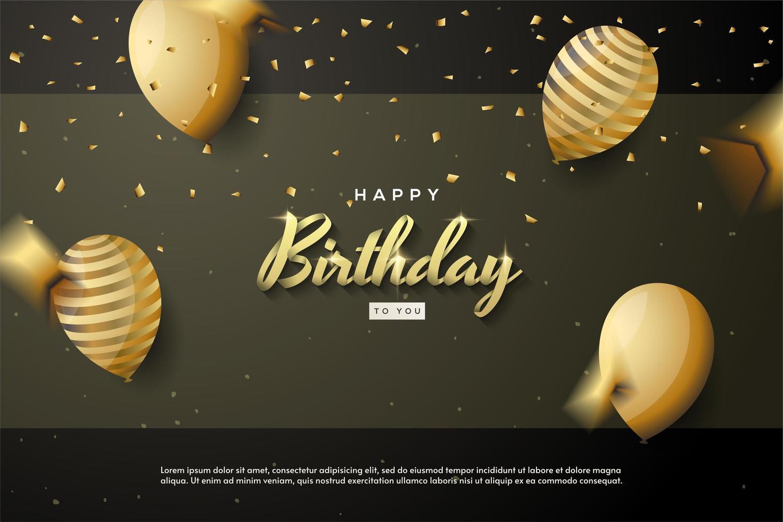 födelsedagsbakgrund med 3d-guldbandliknande skrift vektor