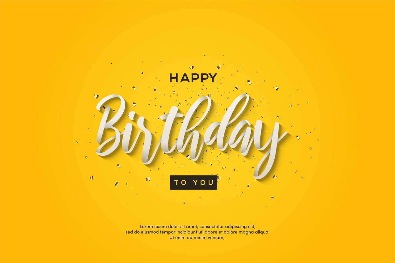födelsedagbakgrund med vitskrivning för vit 3d vektor