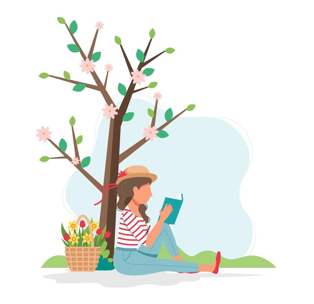 kvinna läser boken under trädet vektor