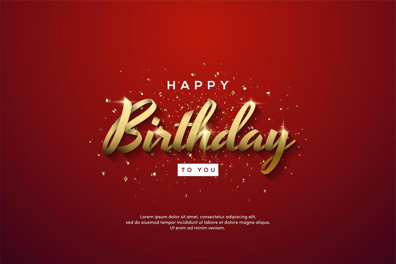 födelsedagbakgrund med guldbandskrivning vektor
