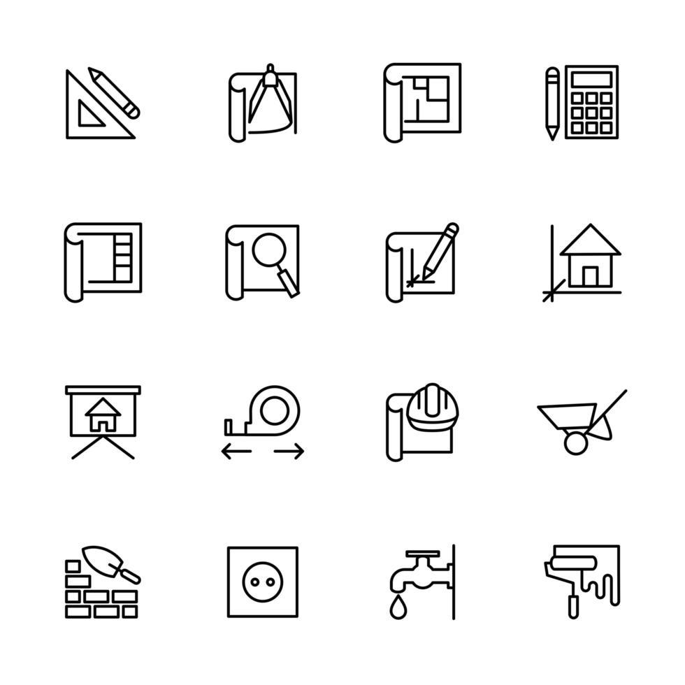 linje ikonuppsättning av arkitekt arbetar steg vektor