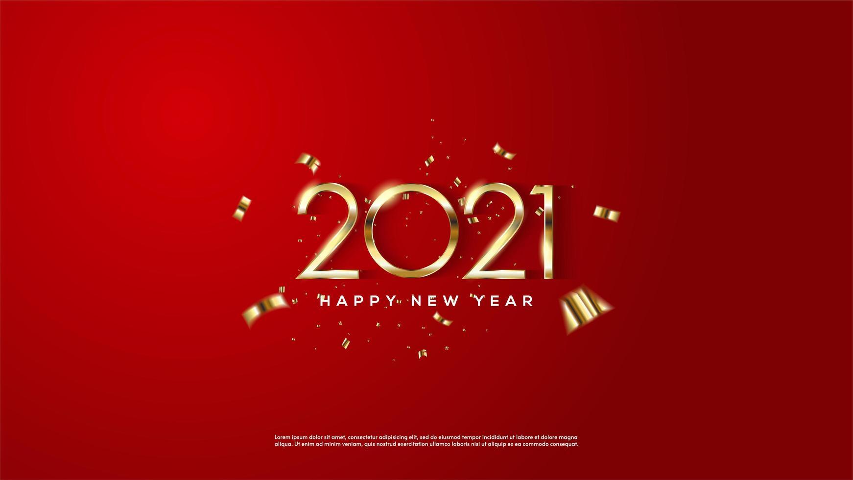 Hintergrund 2021 mit dünnen goldenen Zahlen vektor