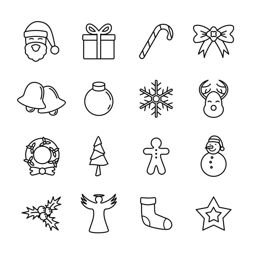 jul linje ikoner för kort eller bakgrunder vektor