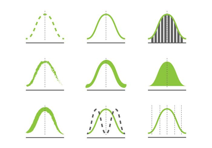 Gaußsche Kurven-Icons vektor