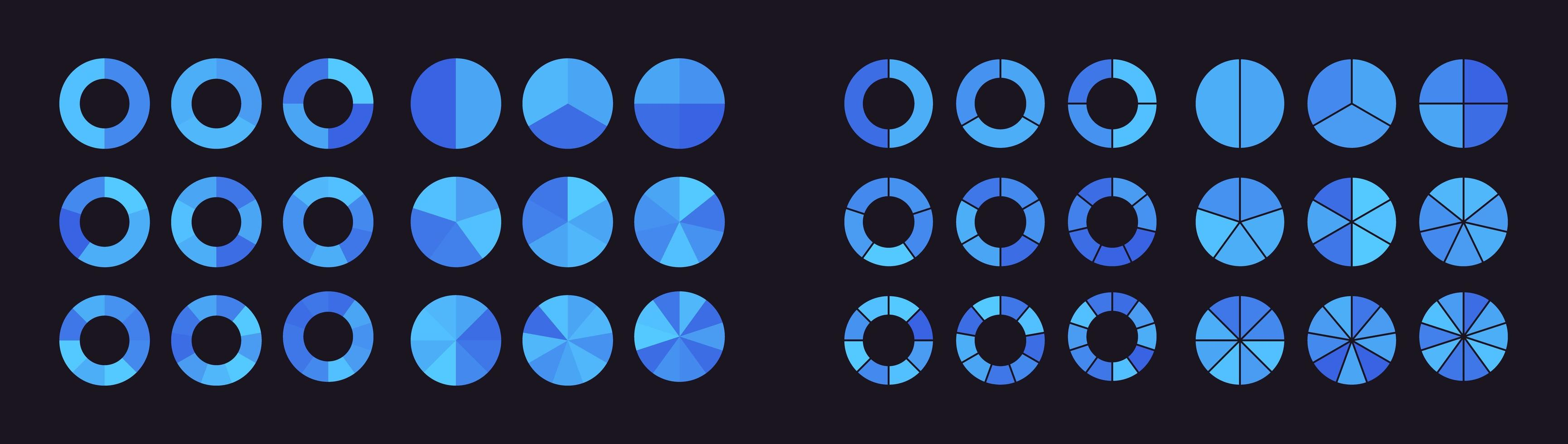 samling av cirkeldiagram uppdelade i delar eller sektorer vektor
