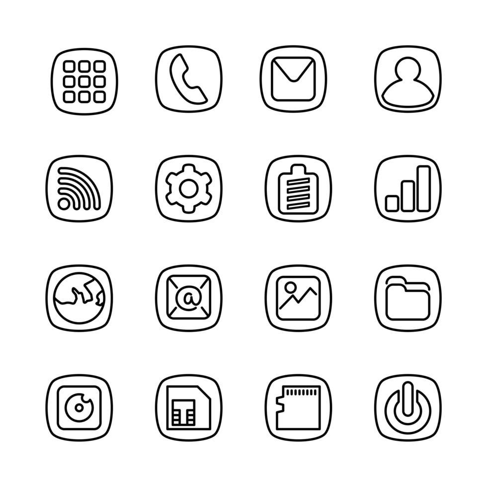 grundläggande smartphone ikoner linje konst stil vektor