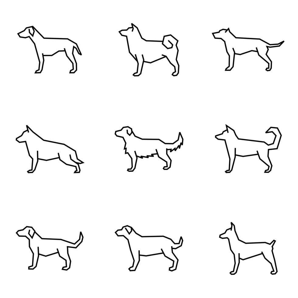 hund ikon samling linje stil vektor