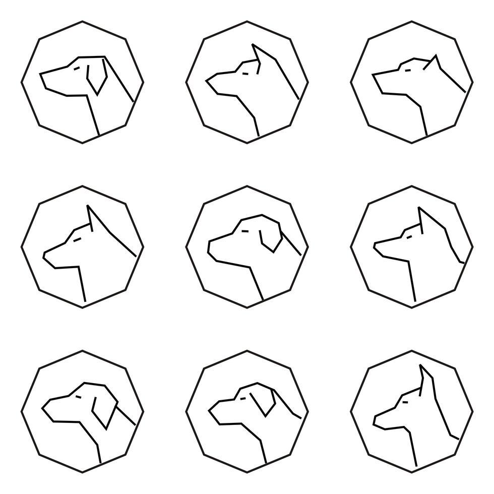Ikonuppsättning hundprofil ansikten beskrivs stil vektor