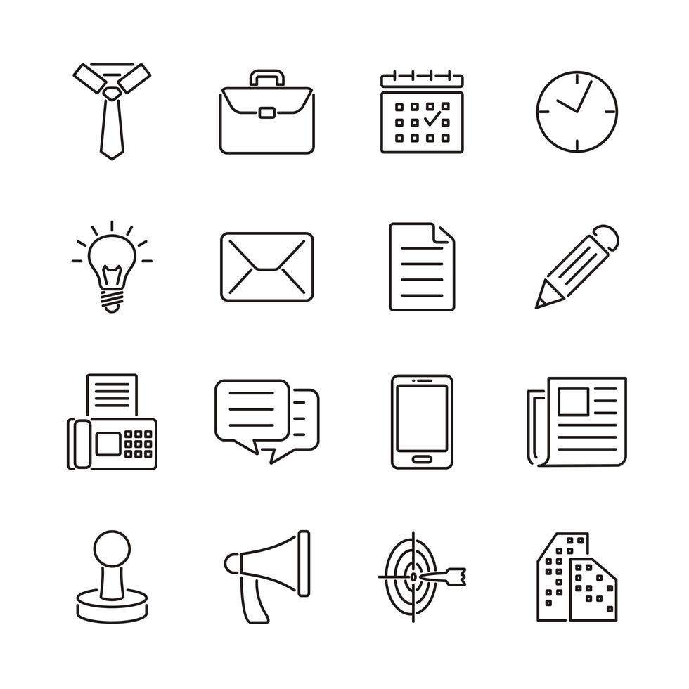 disposition ikoner relaterade till företag och kontor vektor