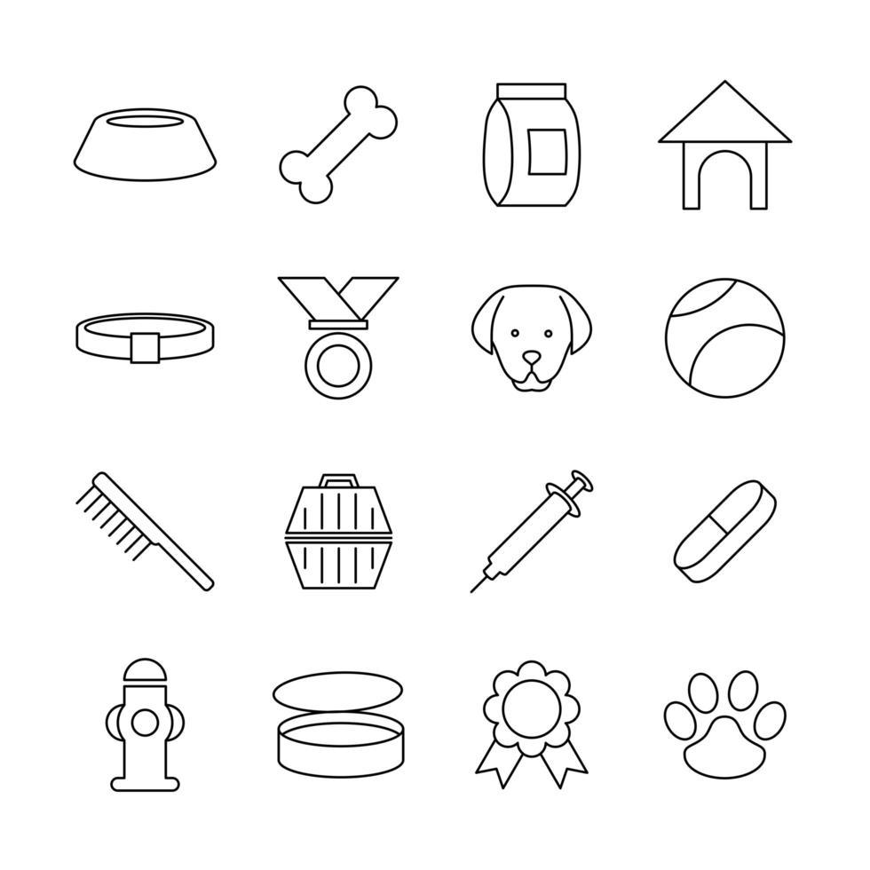 linje ikonuppsättning av djuraffär eller vårdföretag vektor