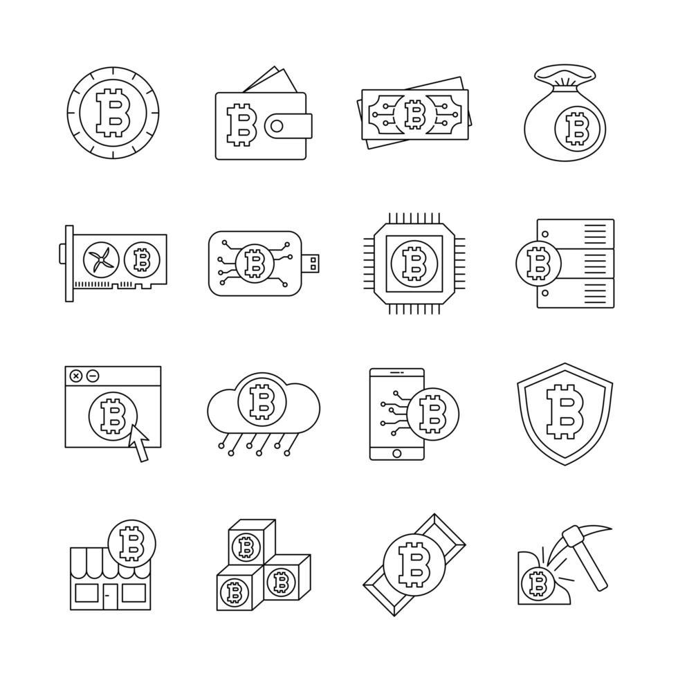 bitcoin line icon set vektor