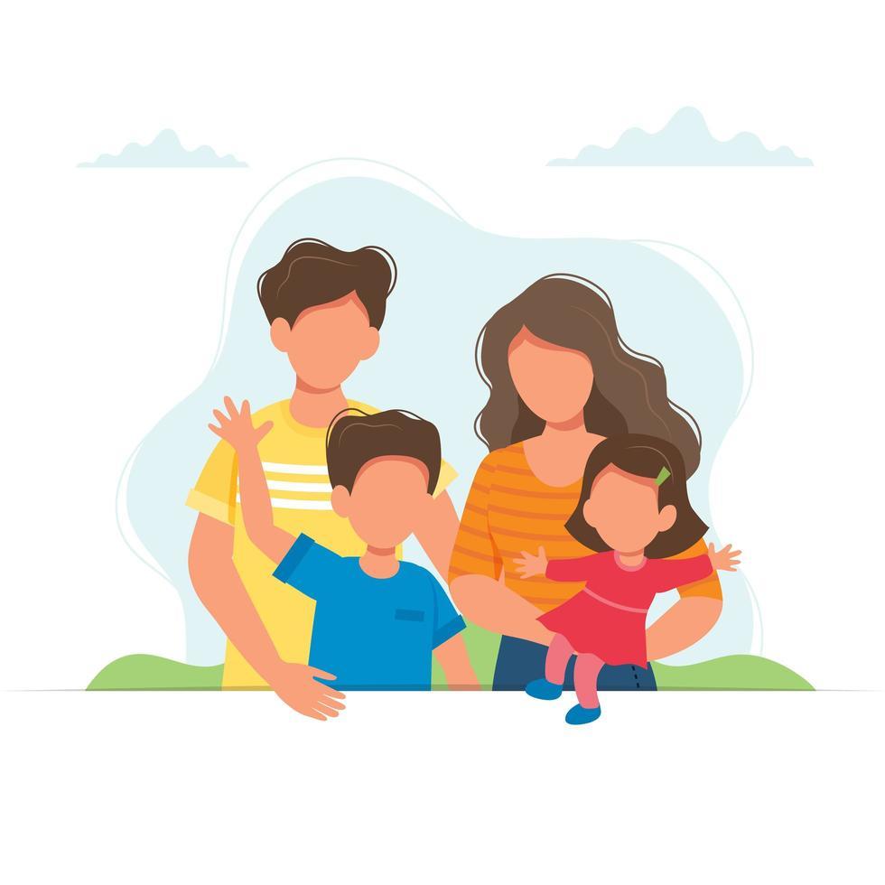 lycklig familj med barn design vektor