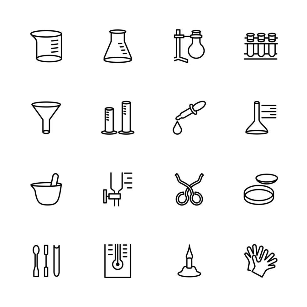 linje ikonuppsättning av kemi forskningsutrustning vektor