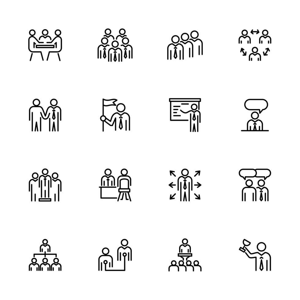 linje ikonuppsättning av kontorsaktivitet för affärsmän vektor