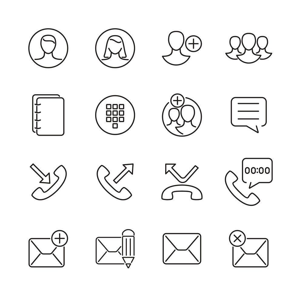 användargränssnittsikoner för kontakt, samtal, meddelanden vektor