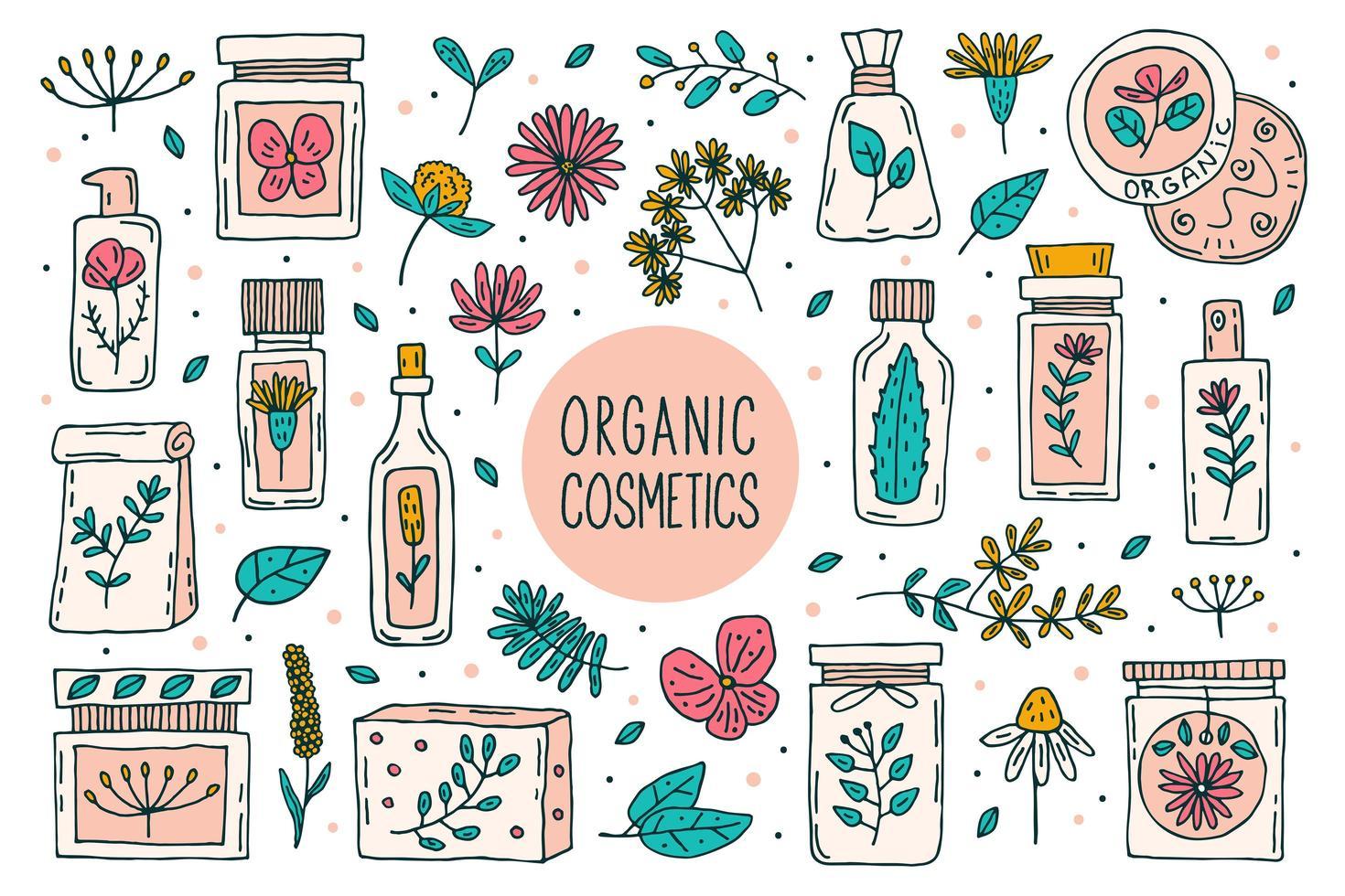 naturliga organiska kosmetika set vektor