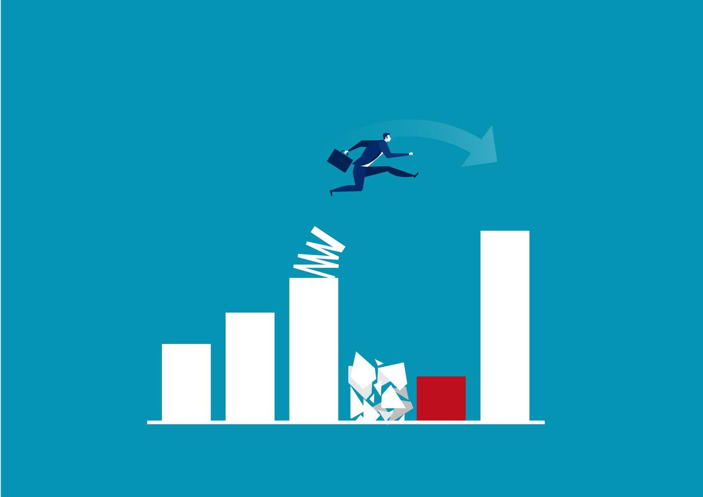 affärsman hoppa över stapeldiagram vektor