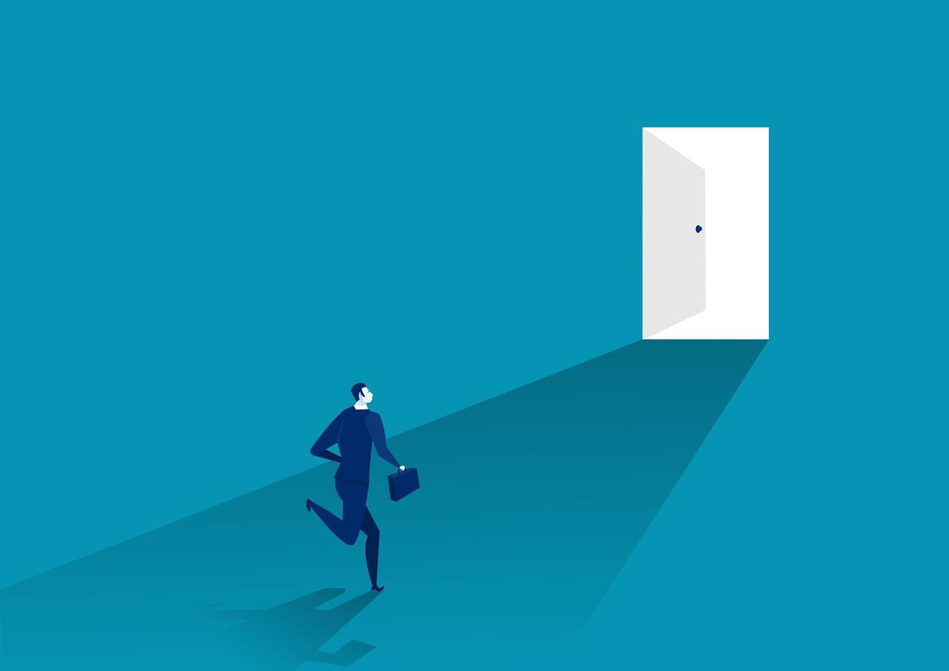affärsman springer för att öppna dörren vektor
