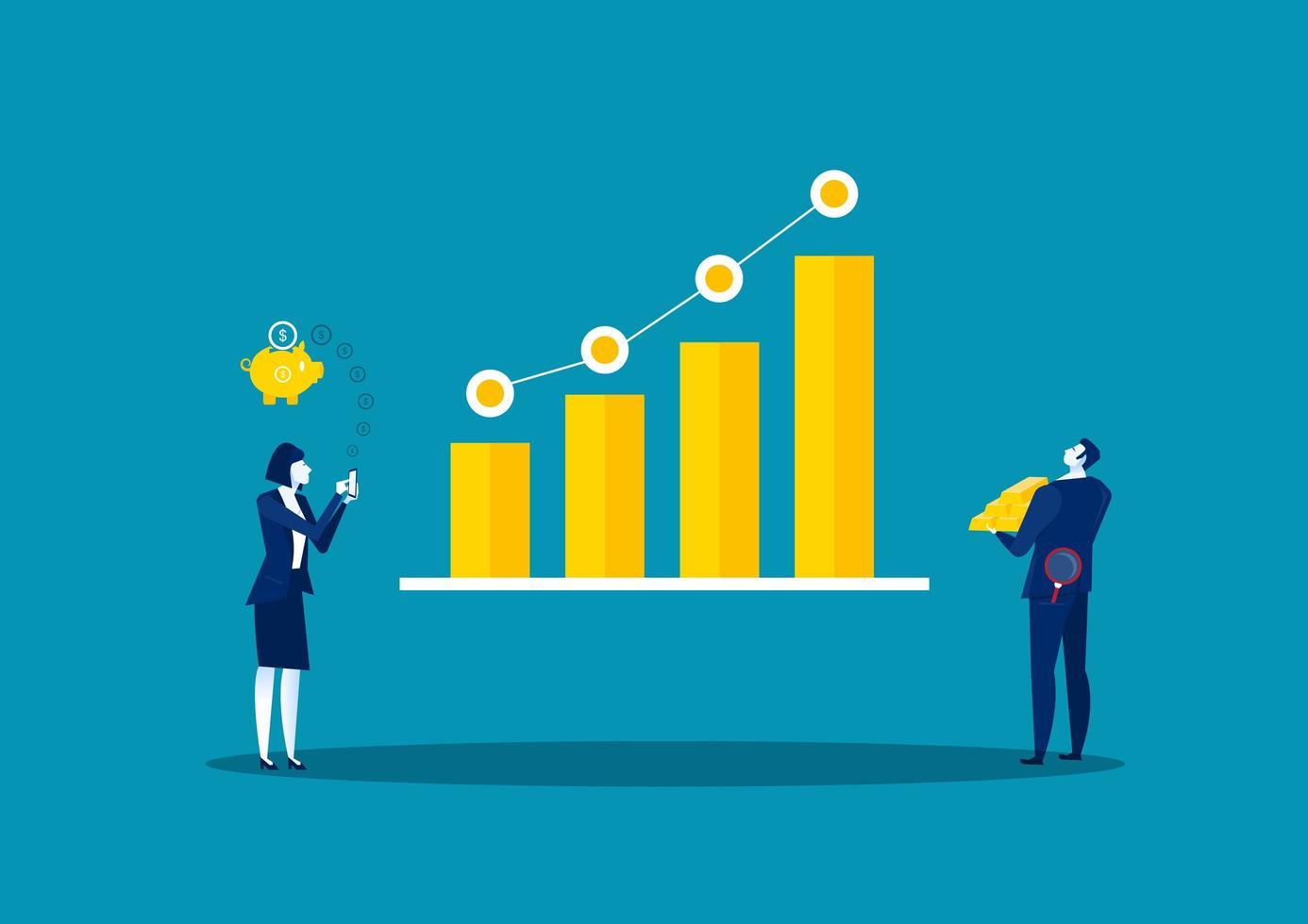 finansiella investeringar i aktiemarknadskoncept vektor