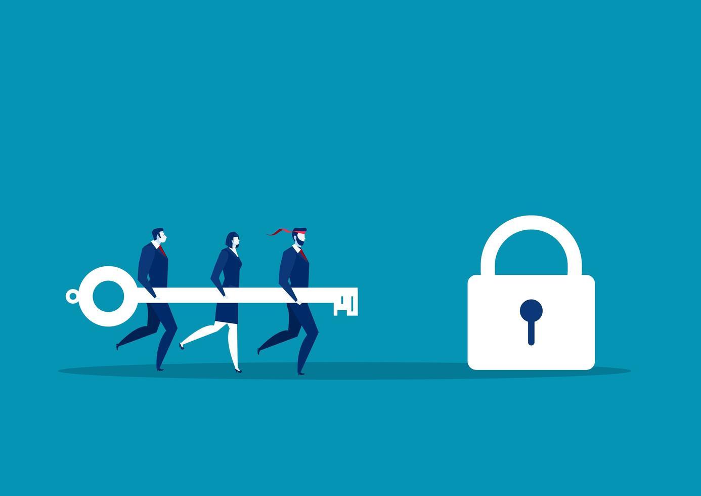 affärs team håller nyckeln och springer för att låsa vektor